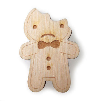 Kawaii wooden gingerbread man brooches | Asking For Trouble