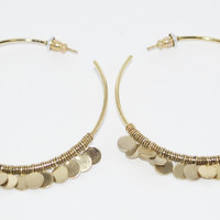 Gold Hoop Disc Earrings