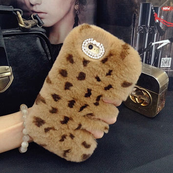 Furry Cases Leopard Fur Iphone Cases for 5S 6 S plus