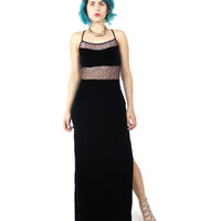 90s Sequin Velvet Evening Gown Sheer Mesh Bodycon Maxi Dress Backless Cut Outs Strappy Sexy Sleeveless Blue Formal Dress (XS/S)