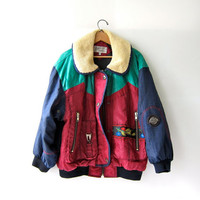 Vintage 80s Ski Jacket. Color Block Coat. Heavy Duty. Floral Winter Coat. XS