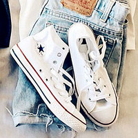 """""""Converse"""" Fashion Canvas Flats Sneakers Sport Shoes High tops White"""
