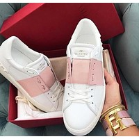 Valentino Hot Sale Women Leisure Leather Sneakers Sport Shoes White&Pink