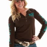 Cowgirl Tuff Ladies Brown/Turquoise Henley