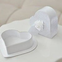 2 White Satin Heart Shaped Jewelry Gift Box with Lid with Rose Gift Tag Wedding Anniversary