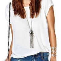 White Cross Cut-out Back Top