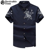 Men Causal Shirt Multi-Color Fashion Summer Short Sleeve Button Down Floral Shirts for Men