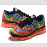 """""""NIKE"""" Trending AirMax Toe Cap hook section knited Fashion Casual Sports Shoes Rainbow color blue hook (orange soles)"""