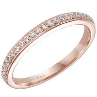 """Artcarved """"Whitney"""" Rose Gold Straight Prong Set Wedding Ring"""
