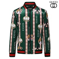 GUCCI 2018 autumn and winter tide brand double G printing casual contrast color high-end jacket