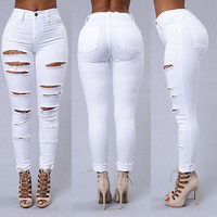 Hot Ladies Ripped Knee Sexy Skinny Jeans Womens High Waisted Legging 6 8 10 12 14 16