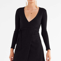 UO Ribbed Knit Mini Wrap Dress | Urban Outfitters