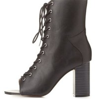 Lace-Up Peep Toe Chunky Heel Booties by Charlotte Russe