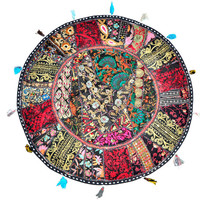"""Black 22"""" Patchwork Round Floor Pillow Cushion round embroidered Bohemian Patchwork floor cushion pouf Vintage Indian Foot Stool Bean Bag"""