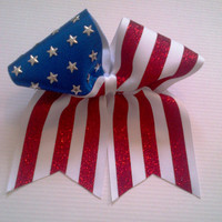 USA/American Flag Cheer Bow on 3'' White by BritishBowtique