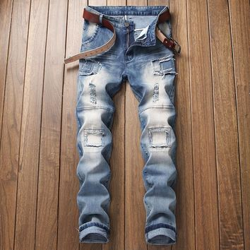 Patchwork Men's Fashion Blue Ripped Holes Jeans [3444983890013]