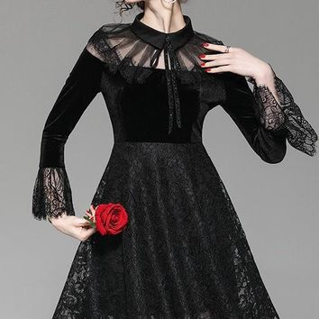 Velvet and Lace Party Dress
