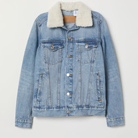 Pile-collar Denim Jacket - Light denim blue - Ladies | H&M US