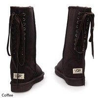 UGG Women Fashion Leather Winter Artificial Plush Keep Warm Boots Shoes Coffee