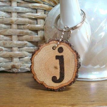Personalized Keychain Rustic Wood Wood Burned Initial Gift Wood Keyring