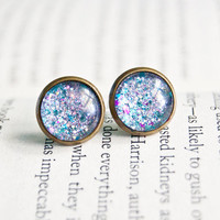 Limited Edition - Boy Girl Sleepover - Antiqued Brass Post Earrings