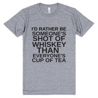 Shot Of Whiskey Cup Of Tea-Unisex Athletic Grey T-Shirt