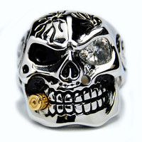 Oliveti Stainless Steel Cubic Zirconia Skull and Bullet Ring   Overstock.com Shopping - The Best Deals on Men's Rings