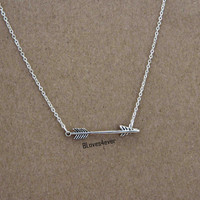 arrow necklace,retro silver necklace,bridal bridesmaids wedding gift,personalized love gift,besties sisiters gift