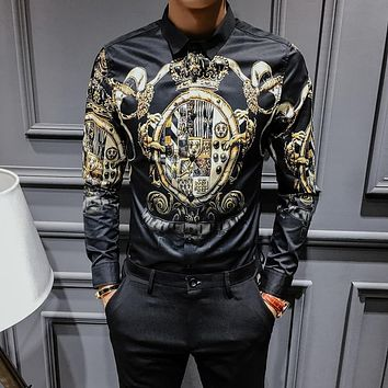 Black Gold Print New Baroque Slim Fit Party Club Shirt ~ Big Man Sizes Available