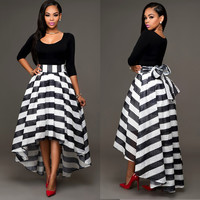 Black Round Neck Vest and Striped Asymmetric Skirt