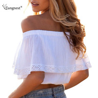 4 Colors S-XL Women Summer Slash Neck Off Shoulder Crop Tops Cotton Ruffles Lace Patchwork Short Shirts Tanks Top Cropped WTN077