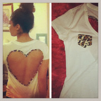 Leopard print heart back Tee by AngeliqueMerici on Etsy