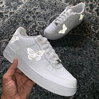 Onewel Nike Air Force 1 Low Print Women and Men casual cushioning shoes Silver butterfly Reflective Luminous