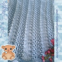 Baby Blanket Soft Baby Blue Crib Size Feather Fan Caron Simply Soft