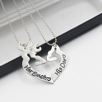 2pcs Deer Hunting Her Buck His Doe Necklaces Kissing Heart Minimalist Hollow Heart Shape Pendant Special Couples Gift Lovers
