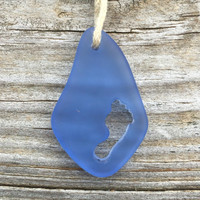 Footprint in Sea Glass Light Baby Blue  Beach Style Boho Chic Summer Necklace by Wave of Life