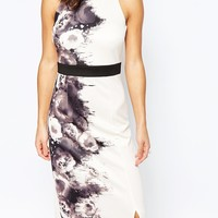 Little Mistress Petite Rose Print Maxi With Open Back