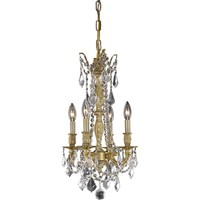 "Rosalia 10"" D Chandelier, French Gold Finish, Clear Crystal, Elegant Cut"