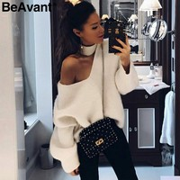 BeAvant Cold shoulder halter knitted sweaters Women casual streetwear blue pullover Autumn winter sweaters pullover jumpers 2018