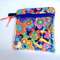 """Vinyl see through padded zippered case is versatile and is 7 1/2"""" x 7 3/4"""". Red green blue yellow black cotton fabric."""
