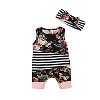 born Baby Girls Floral Romper Striped Jumpsuit + Bow Headband Outfits Clothes