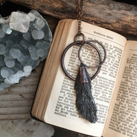 Raw crystal Necklace, Black Kyanite Necklace, Black Stone Pendant, Witchy Necklace, Black Healing Crystal Necklace, Gothic Necklace