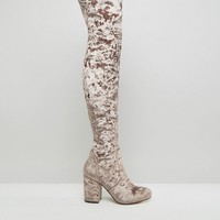 ASOS KATCH UP Velvet Heeled Over The Knee Boots at asos.com