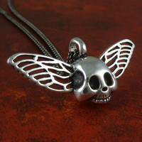 """Winged Skull Necklace Gothic Antique Silver Winged Skull Pendant on 18"""" Gunmetal Chain"""