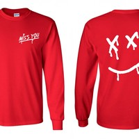 "Louis Tomlinson ""Miss You / Dripping Smiley Face Logo"" Long Sleeve Shirt"