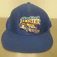 Vintage 90's Sterling Marlin Blue Trucker Snapback Dad Hat NASCAR Car Racing #22 Made In USA Embroidered Car