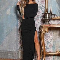 Women Long Sleeve Side Slit Long Party Dress Female Fashion Sexy Backless Velvet Dress Ladies Elegant