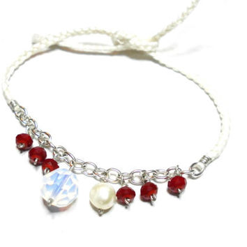 White floss Braided Friendship Bracelets - dark red opal round faceted crystals silver plated chain freshwater pearl valentine's day
