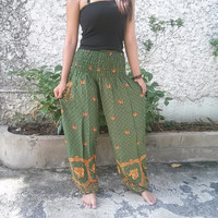 Trousers Yoga Pants Green Elephant Print Hippie Baggy Boho Fashion Style Clothing Rayon Gypsy Tribal Clothes For Beach Summer pattern
