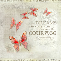 All our Dreams Can Come True Modern Art Butterfly  Art Print by Audrey Jeannes